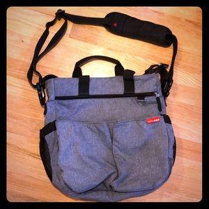 Skip Hop grey and black diaper bag